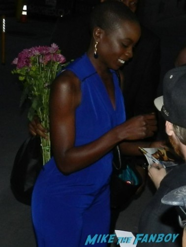 Danai Gurira signing autographs for fans jimmy kimmel live dissing people auographs rare   1