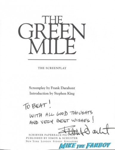 Frank Darabont signed autograph script page rare