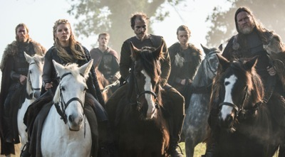 From Left to Right - Torstein (Jefferson Hall), Lagertha_Earl Ingstad (Katheryn Winnick), Bjorn (Alexander Ludwig), Floki (Gustaf Skarsgard), Erlunder (Edvin Endre) and King Horik (Donal Logue)