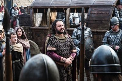 King Aelle (Ivan Kaye) arrives at Wessex