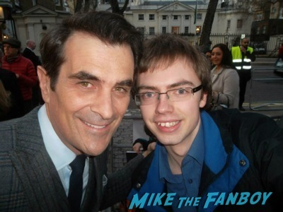 Ty Burrell signing autographs Muppets Most Wanted UK Premiere red carpet ricky gervais2