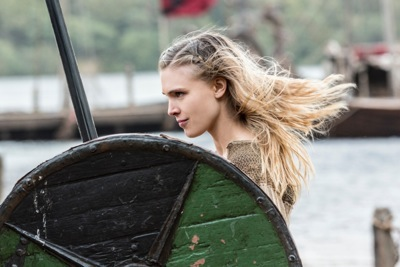 Porunn, played by Gaia Weiss, a shield maiden in the making