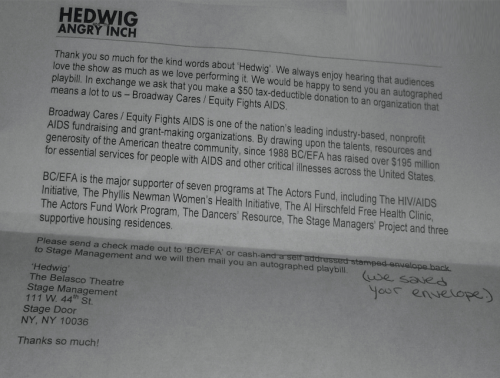 Hedwig an the angry itch playbill rejection