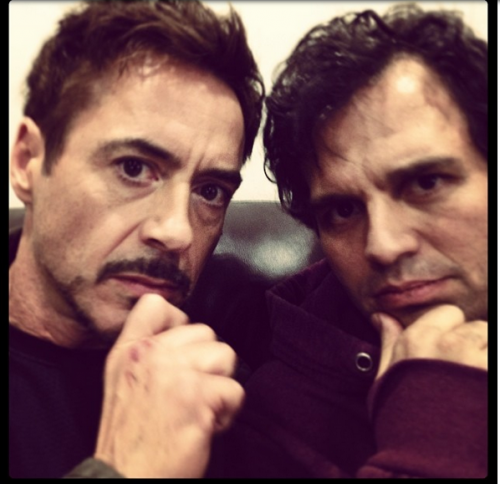 mark ruffalo robert downey jr. selfie from Avengers 2 set