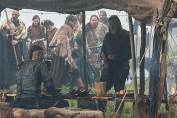 Tensions rise amongst allies Ragnar (Travis Fimmel) and King Horik (Donal Logue)