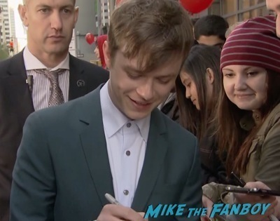 Dane DeHaan signing autographs The Amazing Spider-Man 2 new york premiere emma stone andrew garfield 3