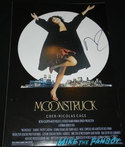 nicolas cage signed autograph moonstruck mini poster rare  signing autographs aero theater raising arizona11