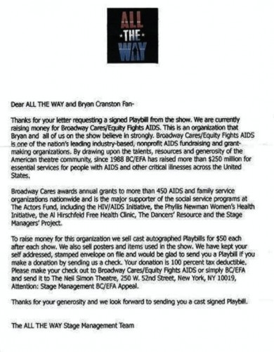all the way signed playbill request rejection
