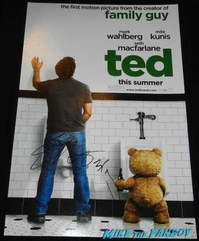 seth macfarlane signed autograph ted mini poster A Million Ways To Die in the west movie premiere signing autographs 37