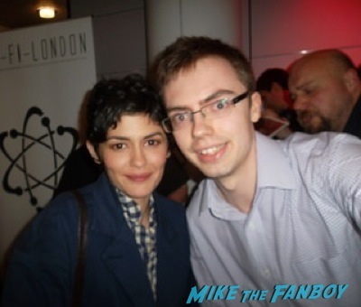 Audrey Tautou signing autographs fan photo rare signed 1