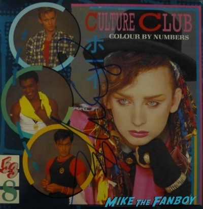 culture club signed autograph coulor by numbers  lp Boy George Signing Autographs Jimmy Kimmel Live Signed Culture Club LP1