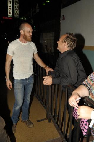 Actor Ethan Embry talk with Actor Keith Coogan at the El Rey Theatre