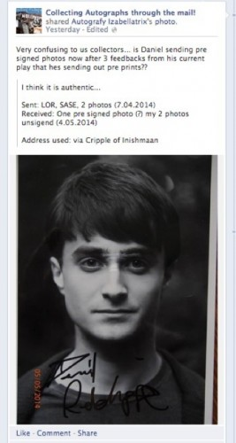 Daniel Radcliffe presigned photo from broadway