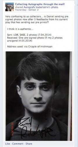 Daniel Radcliffe presigned photo from broadway