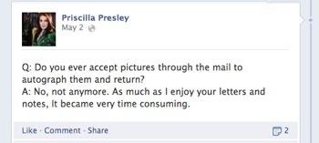 Priscilla Presley  not signing autographs via mail