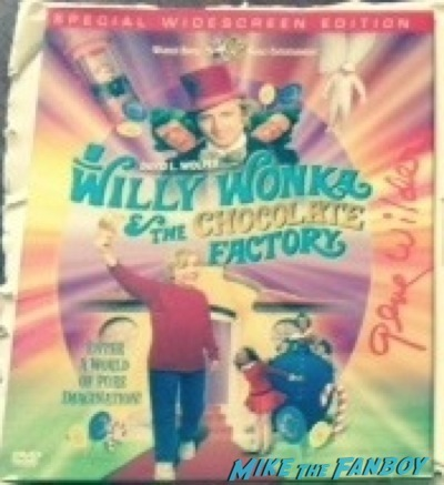 the gene wilder signed willy wonka dvd cover in red counter standee 2