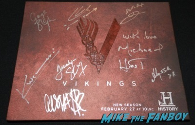 vikings signed autograph press kit  television academy q and a clive standen katheryn winnick 1