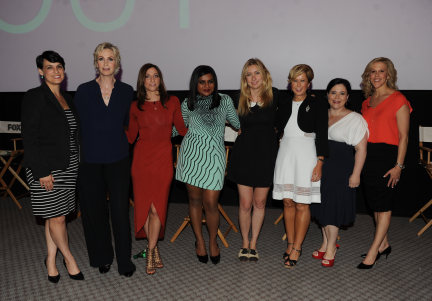 FOX'S GIRLS NIGHT OUT: Executive Producer and Creator Liz Meriwether (NEW GIRL), Chelsea Peretti (BROOKLYN NINE-NINE), Executive Producer Heather Kadin (SLEEPY HOLLOW), Stacey Wilson (moderator), Alex Borstein (FAMILY GUY), Yeardley Smith (THE SIMPSONS), Mindy Kaling (THE MINDY PROJECT) and Jane Lynch (GLEE)behind the scenes during the FOX'S GIRLS NIGHT OUT Q&A AND CHAMPAGNE BAR RECEPTION Monday, June 9th at the Leonard H. Goldson THeatre in North Hollywood, CA.  CR: Frank Micelotta/FOX