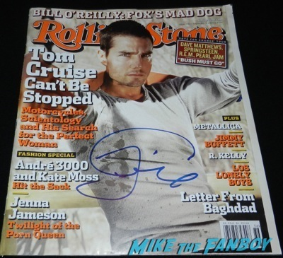 Tom Cruise signed autograph rolling stone magazine 2004 rare signing autographs fan photo jimmy kimmel live 2014    66