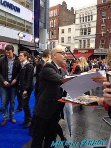 stanley tucci signing autographs X-Men: Days of Future Past UK premiere blue carpet michael Fassbender   4