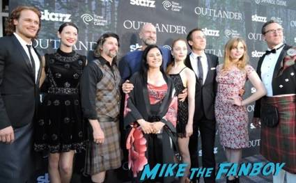 The cast are joined by author Diana Gabaldon, Writer/EP Ron Moore and Carmi Zlotnik