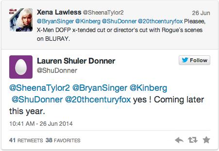 lauren donner tweet rogue days of future past tweet