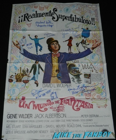 willy wonka cast signed autograph spanish one sheet poster gene wilder
