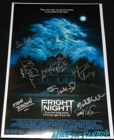 fright night cast signed mini poster rare Tom Holland signing autographs fright night director now 2014  3