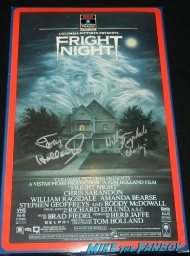 fright night oversized VHS box promo mobile signed Tom Holland signing autographs fright night director now 2014  5