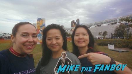 Linda, Erica, #PocketJaime and myself waiting on the Gotham zipline