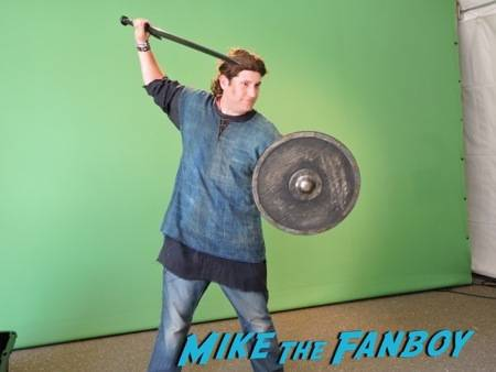 Mike striking a Viking warrior pose