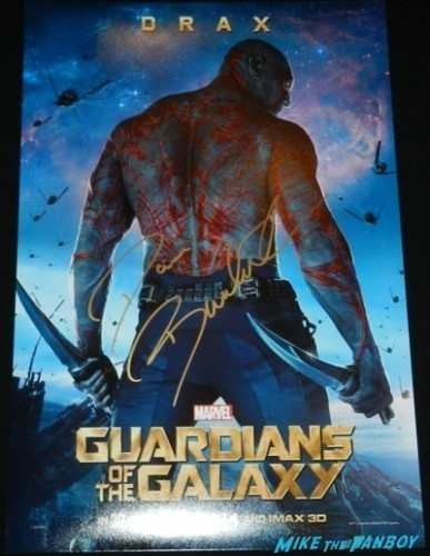 Dave Bautista signed autograph guardians of the galaxy drax mini poster