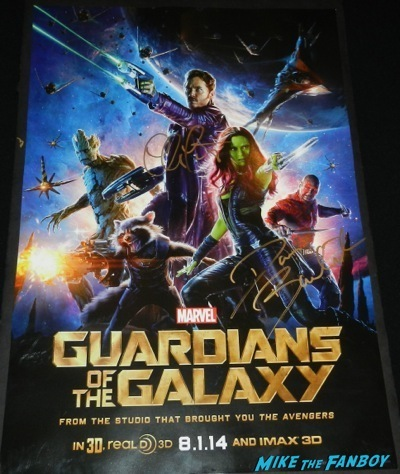guardians of the galaxy signed mini poster dave bautista chris pratt