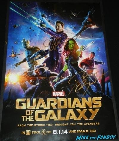 guardians of the galaxy signed mini poster dave bautista chris pratt