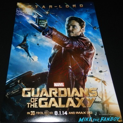 chris pratt signed autograph star lord mini poster guardians of the galaxy