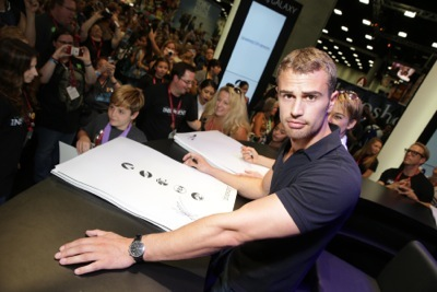 sexy Theo James signing autographs