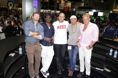 "Kellan Lutz, Wesley Snipes, Director Patrick Hughes, Randy Couture and Dolph Lundgren seen at Lionsgate's ""The Expendables 3"" Talent Signing at 2014 Comic-Con on Thursday, July 24, 2014, in San Diego, CA. (Photo by Eric Charbonneau/Invision for Lionsgate/AP Images)"