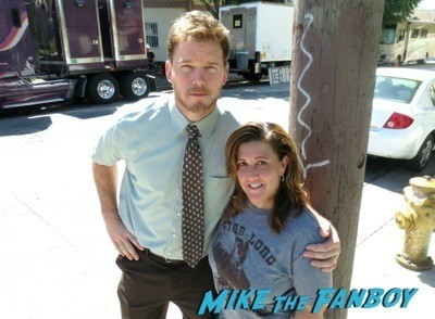 Chris Pratt signing autographs on the set of Parks and Recreation  5