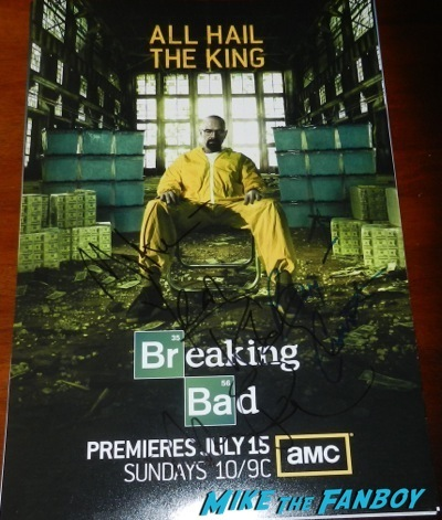 aaron paul bryan cranston signed breaking bad poster
