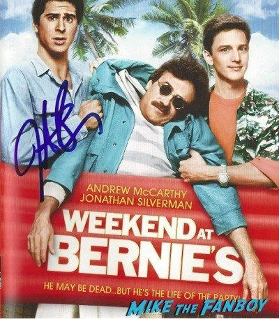 Jonathan silverman signed weekend at bernie's blu-ray cover