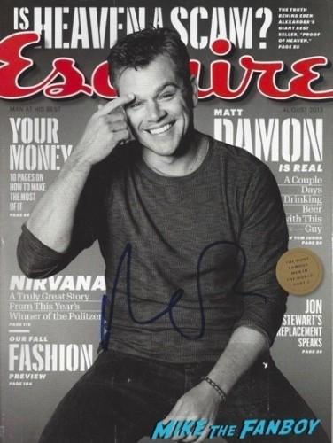 Matt Damon signed autograph magazine GQ signing autographs jonathan silverman 2014 weekend at bernie's   29