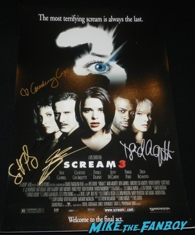 Patrick Dempsey signed scream 3 poster signing autographs jimmy kimmel live 2014  8