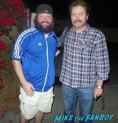 nick offerman signing autographs on the set of Parks and Recreation  6