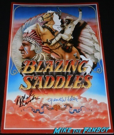 gene wilder and mel brooks signed autograph blazing saddles mini poster