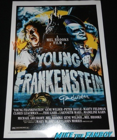 gene wilder and mel brooks signed autograph young frankenstein mini poster