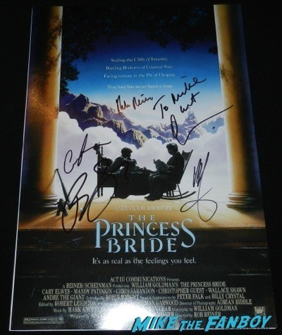 princess bride poster signed autograph rob reiner cary elwes