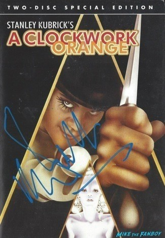 A Clockwork Orange signed autograph dvd cover