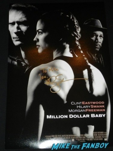 Hilary Swank signed autograph million dollar baby poster Signing autographs q and a fan photo rare 7