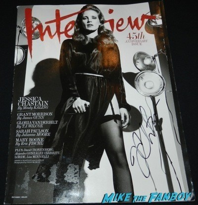 jessica chastain signed interview magazine cover rare Interstellar movie premiere Anne Hathaway jessica chastain signing autographs 39
