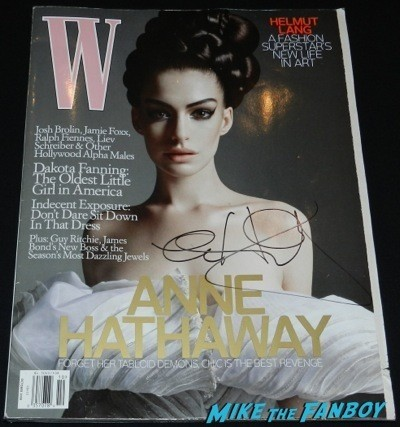 Anne Hathaway signed W Magazine cover rare